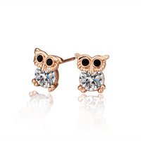 New 18K Rose Gold Plated Cute Owl Women's Stud Earrings Austrian Crystal E276