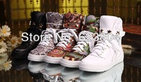 2014 cheap sneakers for couples rockstud high top shoes lace-up genuine leather/stain flat sneakers for women/men