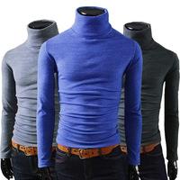 New winter men's high collar bottoming tomy shirt tide male Korean version of Slim Brushed high-necked long-sleeved t-shirt men