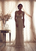 Sexy Lace A-line Sheer Lace Backless Empire Summer Beach Vintage Wedding Dresses with Appliques Sash Bow