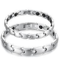 Lovers stainless steel magnetic hematite bangle Bracelet, with magnetic hematite bead. Anti-Fatigue Energy Bracelet.