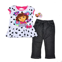 New arrival!!!  Free shipping 4sets/lot NWT 4~7T kids girl summer suits dora white tunist with printed hearts + grey legging