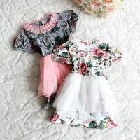 new arrived Children clothing set,summer fashion girls dress,short-sleeve dress 100% cotton flower child tulle dress,5pcs/lot
