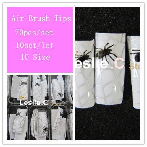 Free Shipping Air Brush Nail Tips/ Airbrush Pre Design Nail Tips 70pcs/set 10sets/lot #E572(China (Mainland))