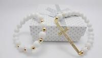 NEW 8 cm natural stone beads Gold Sideway Cross Bracelet women jewelry