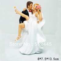 Over the Threshold Kissing Sexy Bride and Groom Wedding Cake Topper Figurine