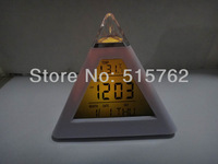 alarm clock 7 LED Colors Pyramid Digital LCD Alarm Clock Thermometer calendar 7 Colors changing lights Clock free shipping