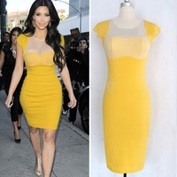 Plus Sizes 2014 New Sexy Ladies Clubwear Celebrity Style Business Women Party Evening Slim Bodycon Dress S/M/L/XL Yellow