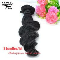 DHL Free Shipping 6A Unprocessed Malaysian Virgin Hair Loose Wave 3pcs lot Human Hair Extensions Natural Black Color weave hair