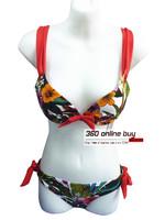 Womens High Quality Pillowtop Unique Sexy Bikini Set Flower Print Swimwear Scrunchy Swim Suit Swimsuit 2014 New For Women