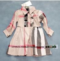 New Spring and Autumn plaid long sleeve british brand dress kids girls dresses princess England design dress