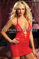 Free shipping Brand New Womens Sexy Satin Ribbon Sleepwear Lace Chemise Eye Mask & Thong Red [N2555]
