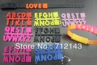 Wholesale DIY silicone slide letter 260pcs/lot A-Z fit for Adult & Child bracelet / wristband