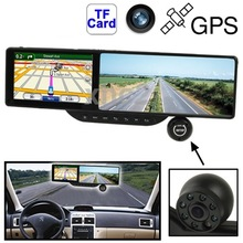 5.0 inch TFT Touch Screen Car GPS Navigator with Rearview Mirror HD DVR 4GB TF Card Support Bluetooth FM Radio AV IN Speaker
