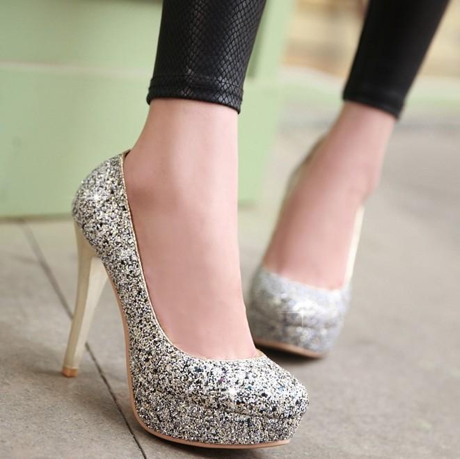 ENMAYER Wedding bridal shoes 2014 NEW Sexy high thin heel women's pumps platform round toe shoes plus size 34-43(China (Mainland))