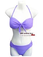 Womens Green Rose Red Pillowtop Sexy Bikini Set Swimwear With Bowtie Ruched Bottom Swimsuit Beachwear 2014 New For Women