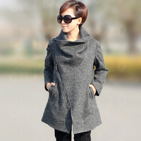 New 2014 Spring And Autumn Brand Outfit Fashion Long Wool Coat Women Inclined Zipper Female Coats