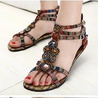 free shipping 2014 spring bohemia vintage gem beaded sandals flat gladiator style flat heel sandals female 34-41
