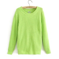 2014 spring neon color sweater loose sweater pullover sweater loose solid color sweet sweater