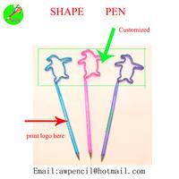 Customized PET shape pen with logo  min order 1000pcs