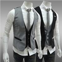 2014 spring new men vest single-breasted coat Plus Size  cotton mens suit vest men waistcoat jacket casual vests
