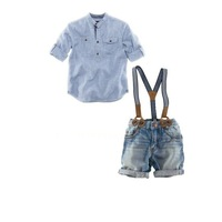 2013 baby boy 2 pcs set casual shirt + jeans with braces gentleman baby clothing set kids Brand striped suspenders jeans set