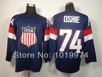 Newest Sochi 2014 Winter Olympic Team USA Hockey Jersey #74 T. J. Oshie Navy Blue size M-XXXL Name Number LOGO Embroidered
