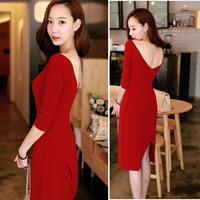 2014 spring and autumn fashion three quarter sleeve elegant gentlewomen placketing full dress racerback one-piece dress red