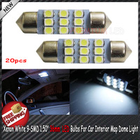 "Free Shipping 20pcs/lo Xenon White 9-SMD 1.50"" 36mm 6411 6418 LED Bulbs For Car Interior Map Dome Light"