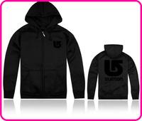 Free Shipping Online Stock Burton Brand Men's Black Color Zipper Style Fashion Hoody Jackets