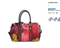 2014desigual New exaggerated big red flower pattern retro print handbag Shoulder Messenger Bag
