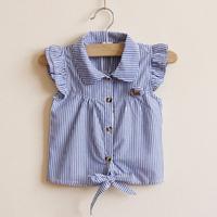 New 2014 Children's clothing summer small lapel stripe short sleeve shirt  for girl