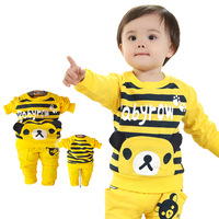 Kids spring 2014 latest cotton leisure suit men and women serving piece suit baby out 1-2-3 years old