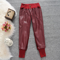 winter fashion patchwork all-match casual leather pants boot cut jeans