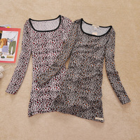 spring women's medium-long leopard print long-sleeve T-shirt  basic shirt
