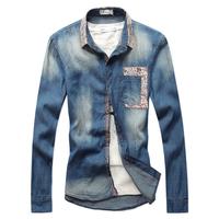 Denim shirt Casual outerwear Slim Long-sleeve Fashion Brand Outdoor Sports Casual men 2014 Spring M L XL XXL