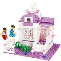 Sluban Retail Sweet hut 193pcs 2 Minifigures Learning&Educational Bricks Building Block Girl toy compatible with lego