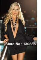 spring 2014 v-neck lace long sleeve High elasticity dress party evening elegant cheap sexy club dresses  casual dress plus size