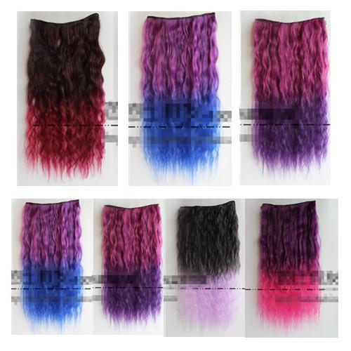 Rainbow Lace Curly Closure Ponytail Loop Hair Extensions Long Princess Female Hair Bulk Ribbon Synthetic Hair Blue Purple Pink(China (Mainland))