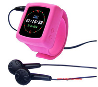 candy color MP4 mp3 silicone slap band wrist watch free shipping