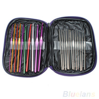 22pcs Mixed Color Aluminum Crochet Hooks Knitting Needles Case Yarn Kit Set with Case