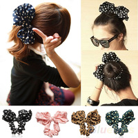 Lovely Big Rabbit Ear Bow Headband Ponytail Holder Hair Tie Band Headwear Korean Style for Women Accessories