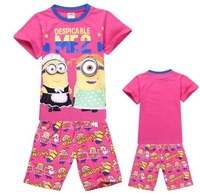 wholesale 2014 new summer 100% cotton Despicable baby pajamas of the children leopard pyjamas kids baby clothing 2 pcs set