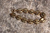 Free shipping Gold bean shaped solid bracelet gold bracelet
