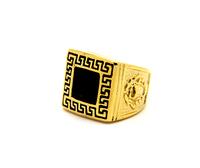 Free shipping Golden black stone setting ring