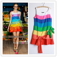 Dropshipping Wholesale Womens' Rainbow Sleeveless Chiffon Cake Cute Mini Summer Mini Dress S,M,L