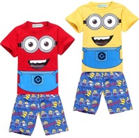 2014 new Children's Short Sleeves Pajamas Despicable me 2 Kid's Summer Pyjamas Nightwear Boy's Cartoon Sleep Set 6 Sizes/lot