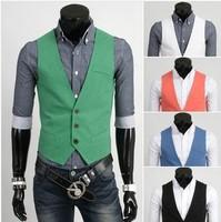 Spring 2014 men casual suit vest cotton mens vests waistcoat men clothing green white sport outerwear