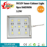 DC12V 2.2W 9pcs SMD5050 140lm square led cabinet light for kicthen decoration, AL+PMMA Warm/Cool White led puck light