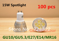 100pcs Fedex Free shipping High Power GU10 E27 GU5.3 MR16 CREE Dimmable LED spotlight light bulb 15W Led lamp bulb